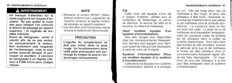 manuel du propriétaire zx6r 2009 / 2010 2110