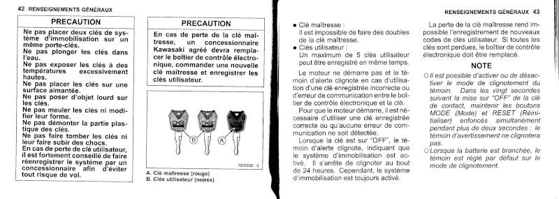 manuel du propriétaire zx6r 2009 / 2010 2210