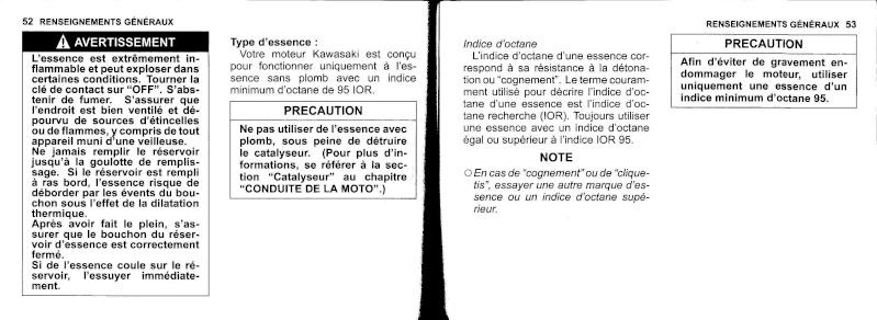 manuel du propriétaire zx6r 2009 / 2010 2710