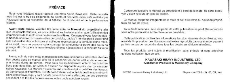 manuel du propriétaire zx6r 2009 / 2010 310