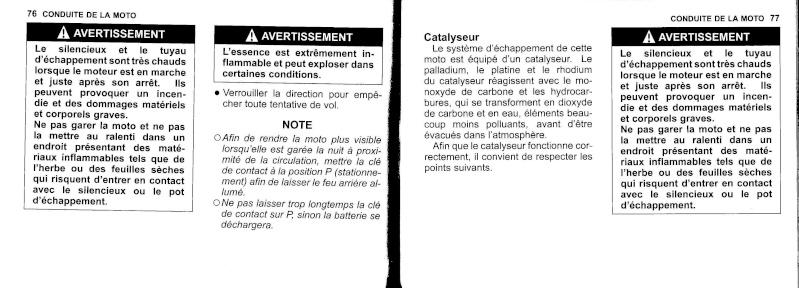 manuel du propriétaire zx6r 2009 / 2010 3910