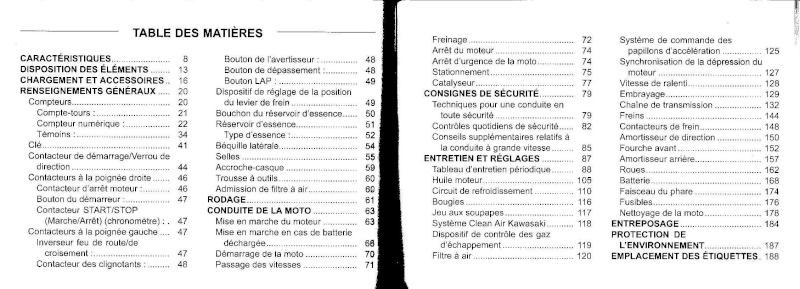 manuel du propriétaire zx6r 2009 / 2010 410