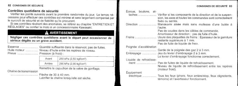 manuel du propriétaire zx6r 2009 / 2010 4210