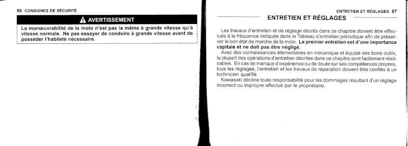 manuel du propriétaire zx6r 2009 / 2010 4410