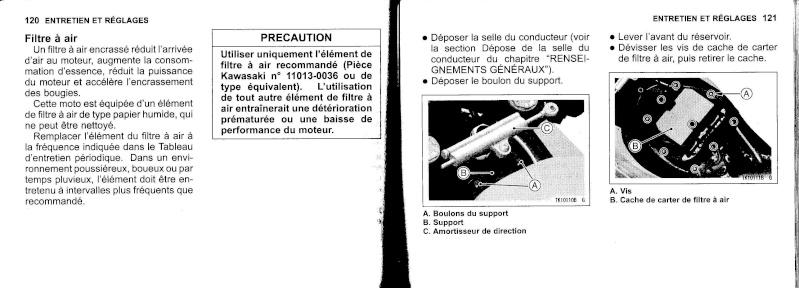 manuel du propriétaire zx6r 2009 / 2010 6110