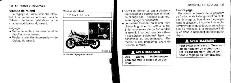 manuel du propriétaire zx6r 2009 / 2010 6510