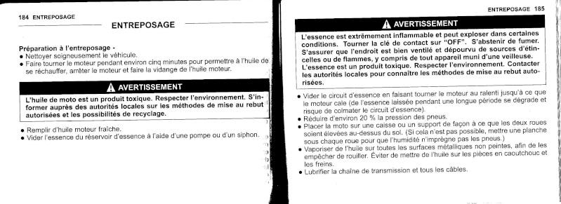 manuel du propriétaire zx6r 2009 / 2010 9310