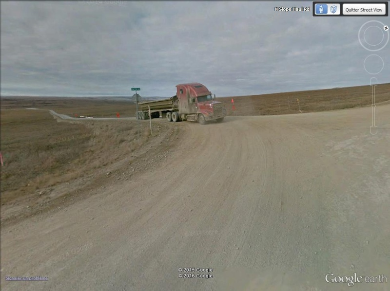 Street view: La route vers l'océan arctique. L'Alaska vu depuis la Dalton Highway. Camion10