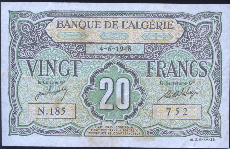 Echange - Billets Algérie < 1962 P103_210
