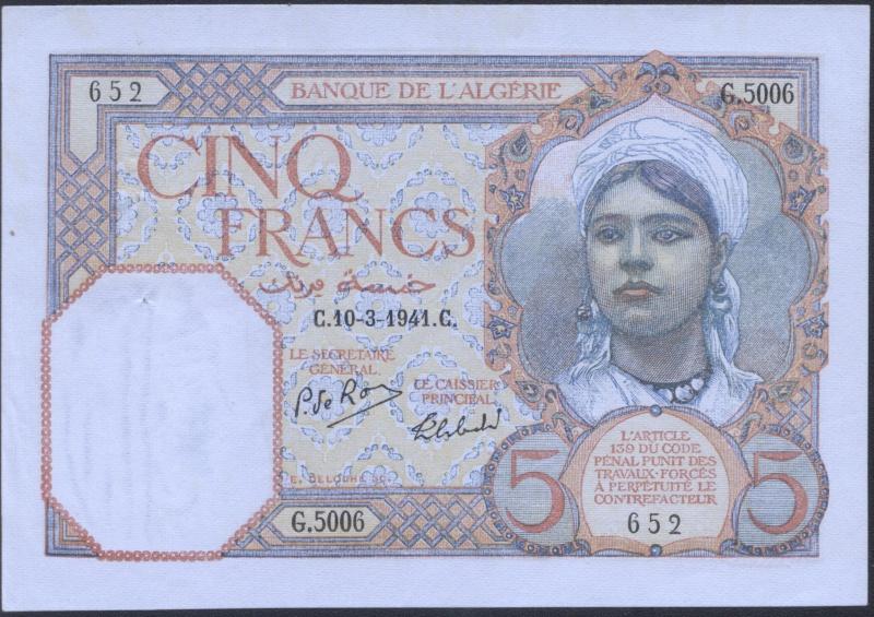 Echange - Billets Algérie < 1962 P77b_510