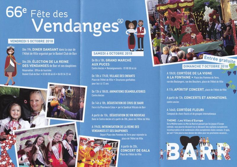 """Barr (67)   5, 6 & 7 octobre 2018 : """" Fête des Vendanges """" Vendan11"""