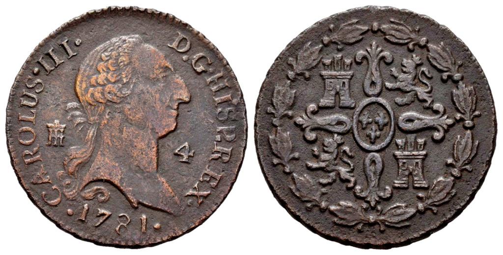 Moneda Carlos III . 1781 . 4 Maravedis . Segovia 001-8210