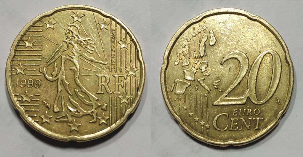Moneda 20 Centimos De Euro Francia 1999 - Error 20_cen10
