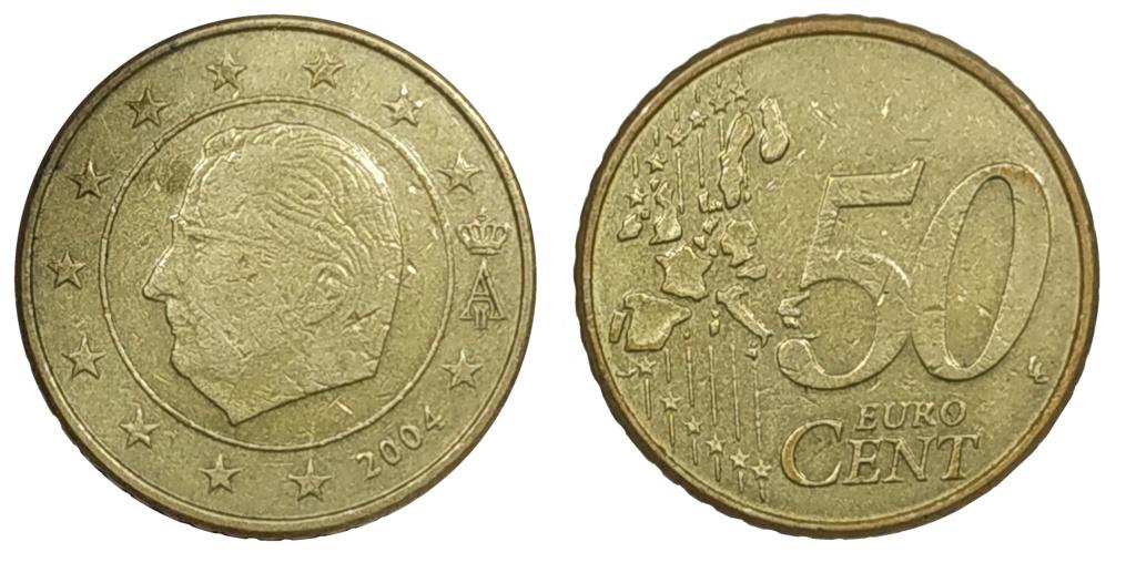 Moneda50 Centimos de Euro 2004 Belgica. ERROR 50_cen10