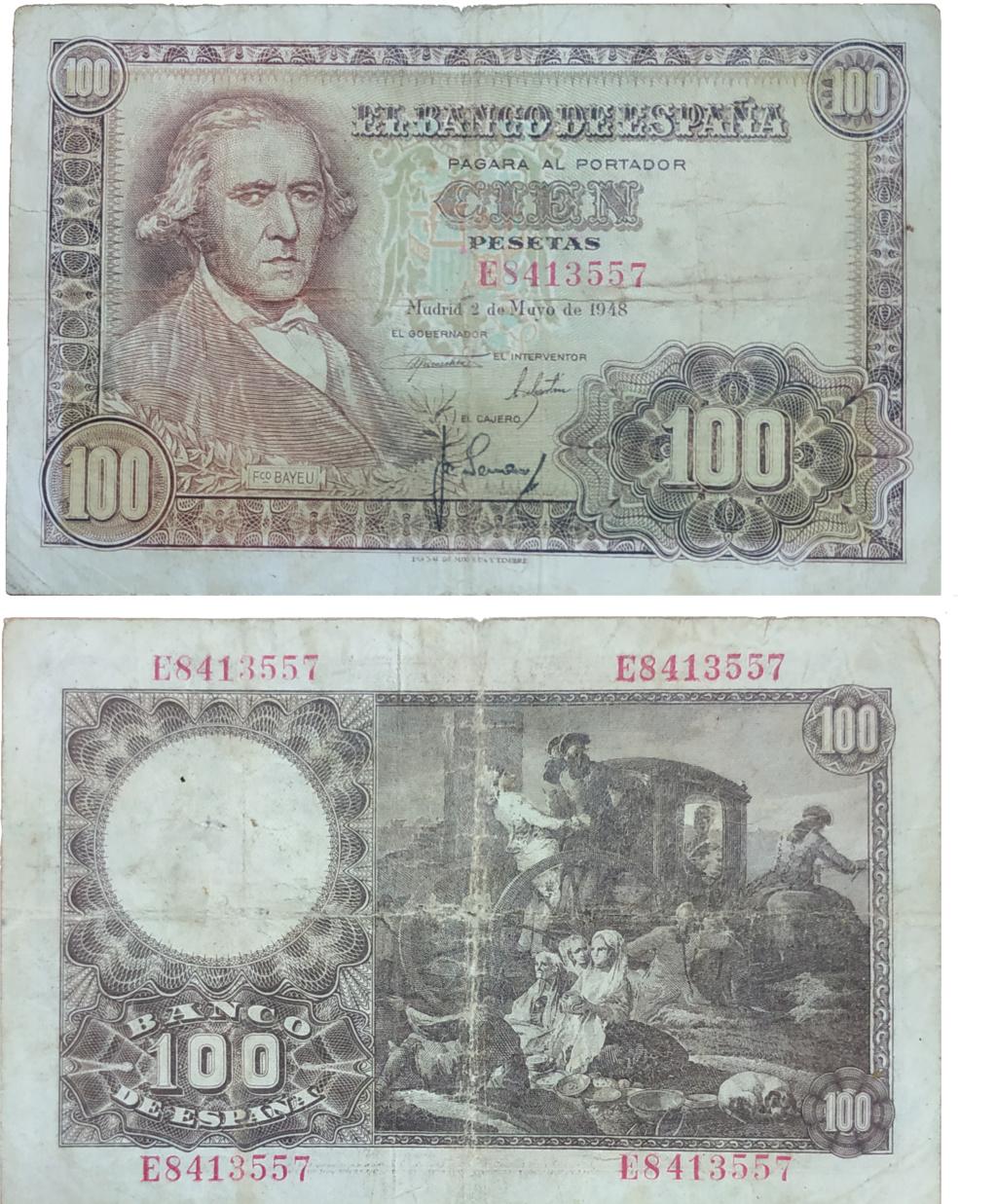 Aqui os dejo otro de estos maravillosos billetes de 100 pesetas Francisco Bayeu 1948  Billet15