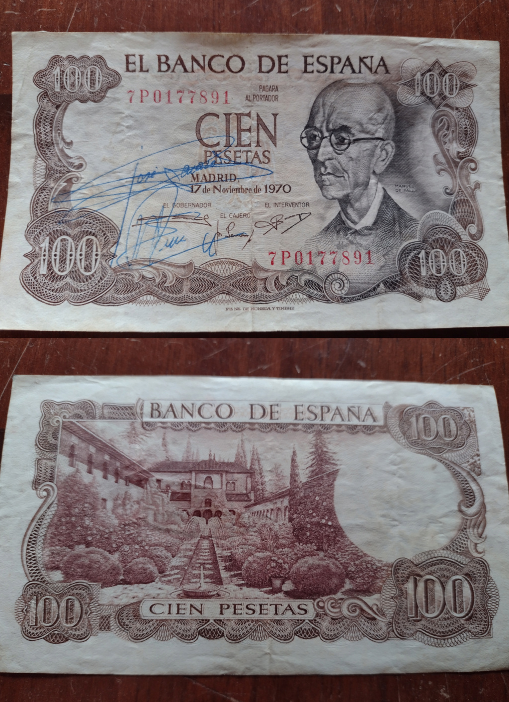100 pesetas, de 1970 de Manuel de falla. ¿Firma autentica del cajero? Billet16