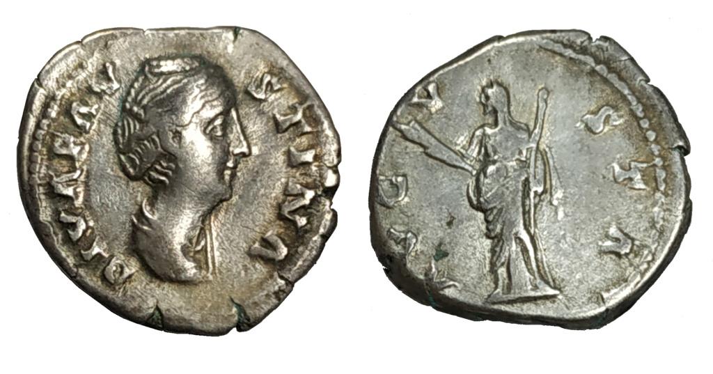 Denario de Faustina I. AVGVSTA. Ceres estante a izq. Roma. Denari10