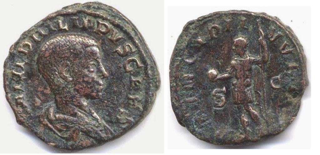 Sestercio de Filipo II. PRINCIPI IVVENT - S C. Filipo estante a izq. Roma. Filipo10
