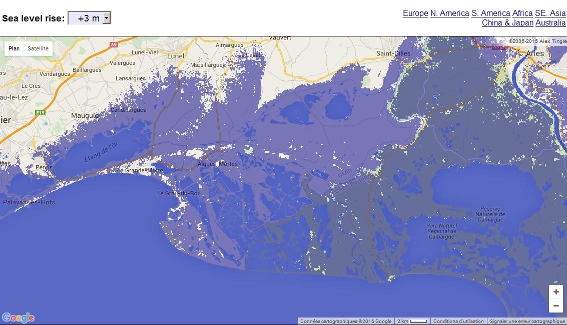 Carte interactive de la montée du niveau des océans  Aigues10