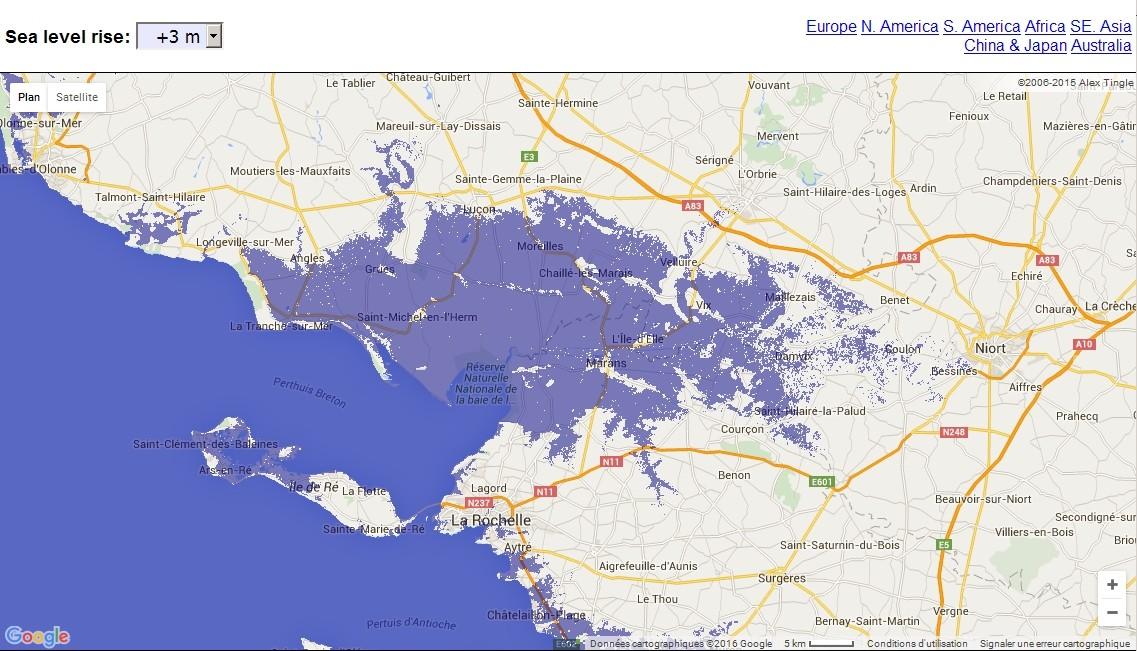 Carte interactive de la montée du niveau des océans  Niort10