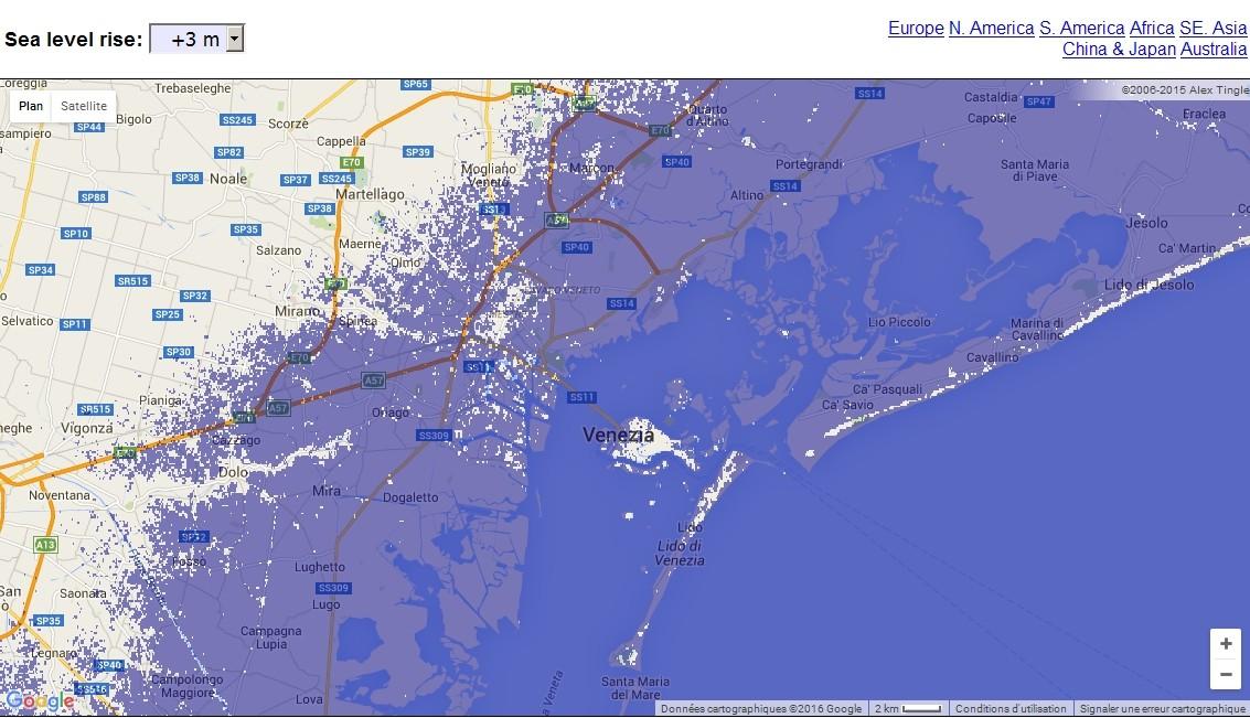 Carte interactive de la montée du niveau des océans  Venise10