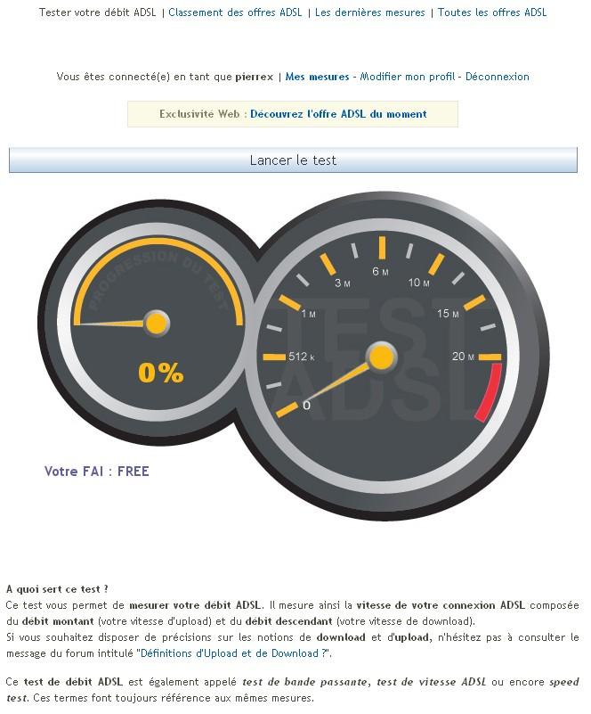 Test ADSL vitesse Testad10