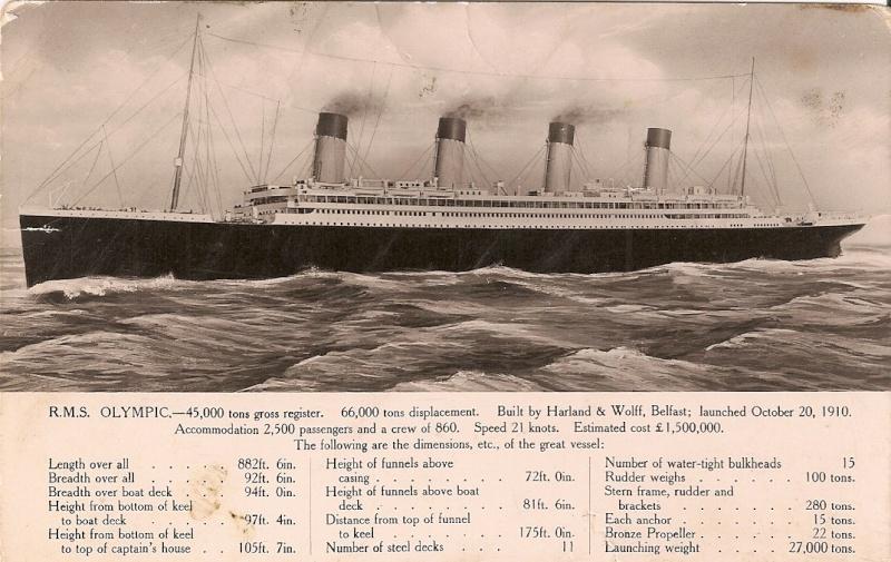 carte postale du RMS Olympic Olympi13