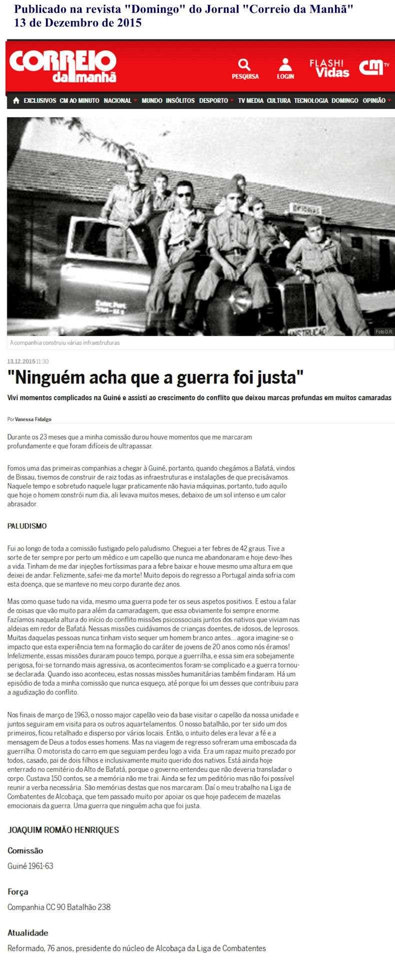 Depoimento hoje 13Dez2015 publicado no magazine dominical do 'Correio da Manhã' Depoim10