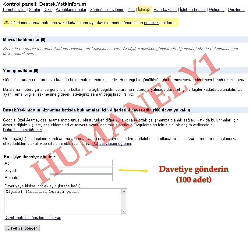 Sitenize Özel Google Arama motoru 1010