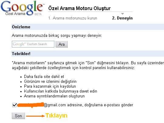 Sitenize Özel Google Arama motoru 411