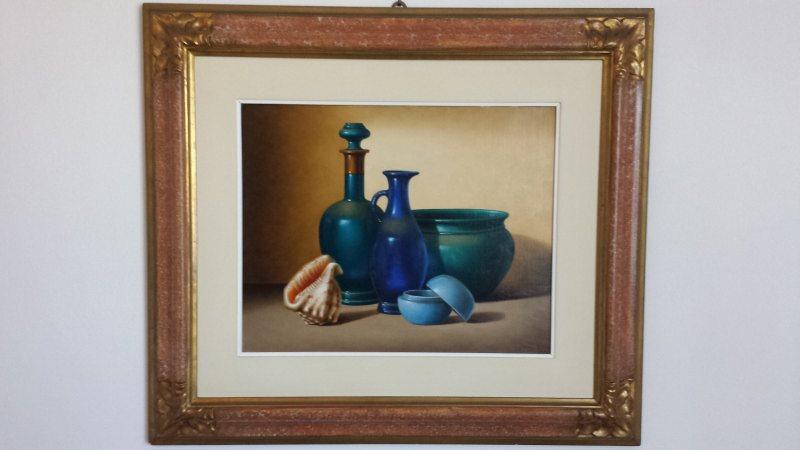 """Olio su tela """"Oggetti blu"""" 40x50 in vendita Img_0010"""