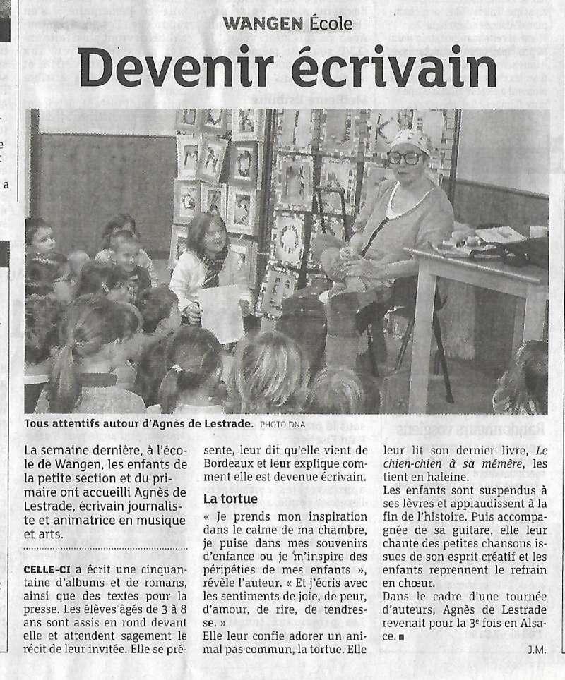 Agnès de Lestrade, auteure jeunesse, invitée par les écoliers de Wangen Scan0013