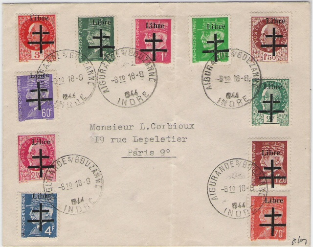 Timbres de la libération d'Aigurande (Oblitérations sur lettre). Aigura11