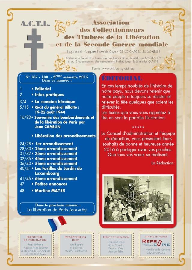 LA REVUE 2ème SEMESTRE 2015 n° 187 - 188 LIBERATION DE PARIS 1ère PARTIE Page_110