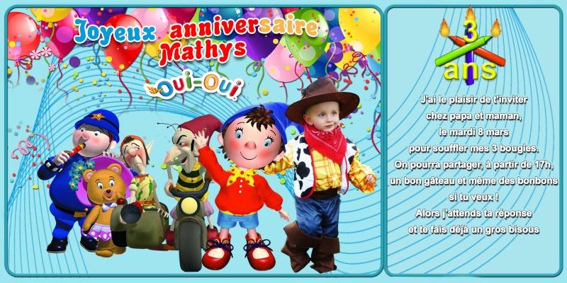 Anniversaire 3 ans MATHYS thème Oui-Oui Phiphi12
