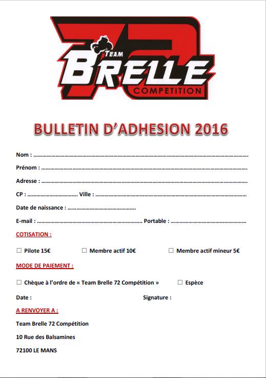 BULLETIN D'ADHESION AU TEAM BRELLE 72 COMPETITION Bullet10