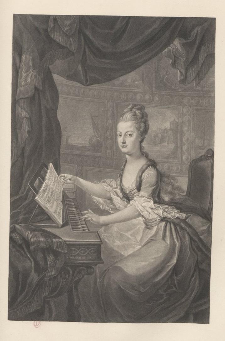 Portraits de Marie-Antoinette au clavecin, par Franz Xaver Wagenschön Bpt6k630