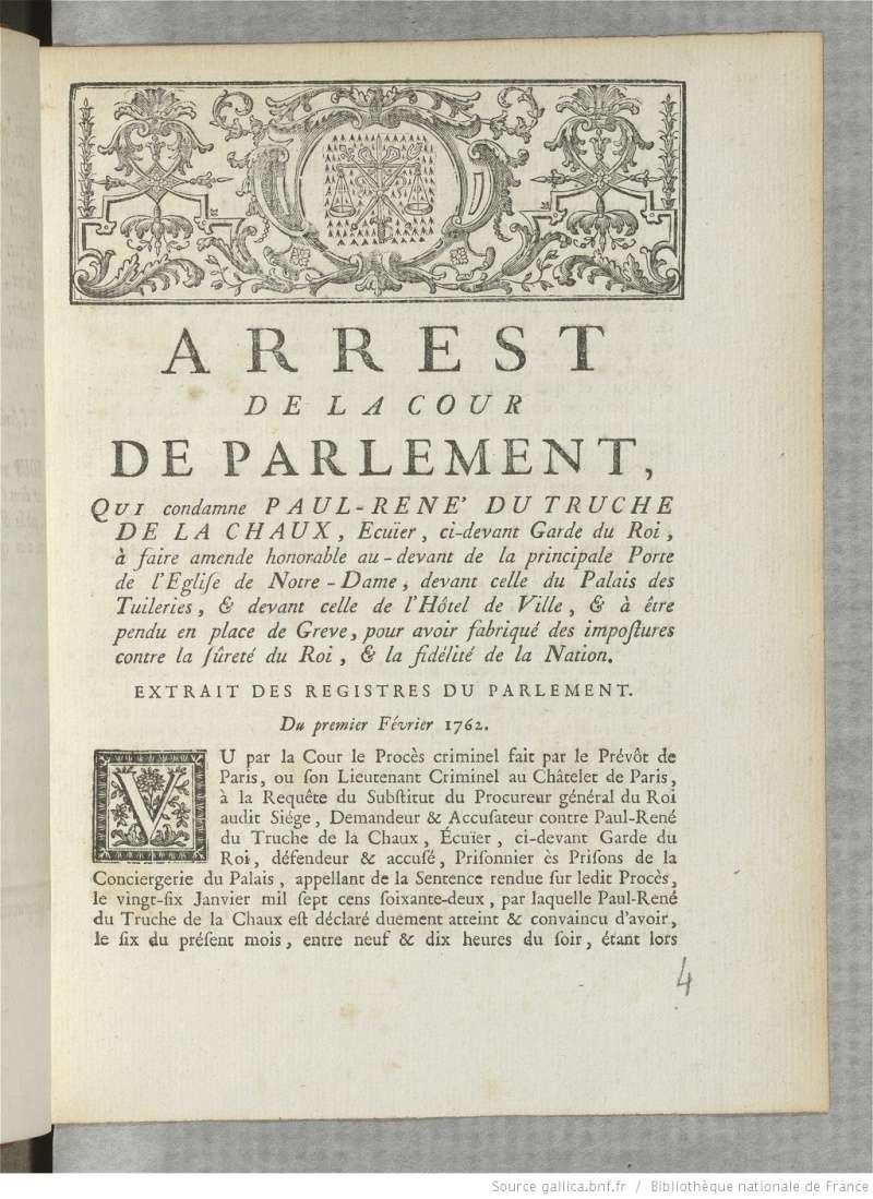 L'incroyable histoire de Truche de La Chaux Bpt6k810