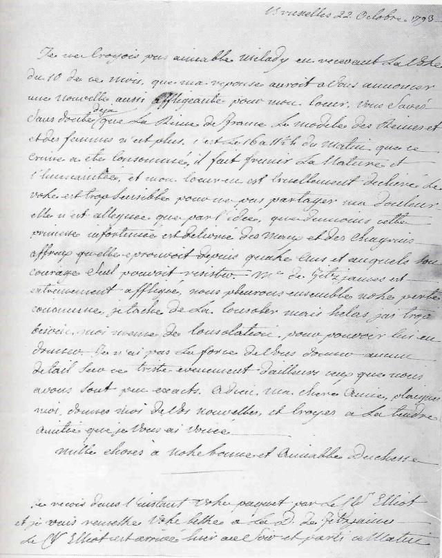 Lettre de Fersen à Elisabeth Foster : la mort de Marie-Antoinette Lettre10
