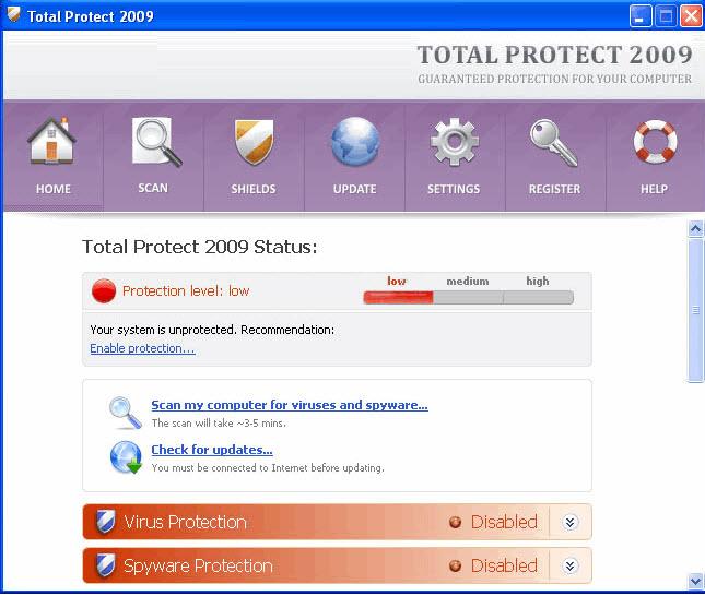 Total Protect 2009 - guida alla rimozione Tp200910
