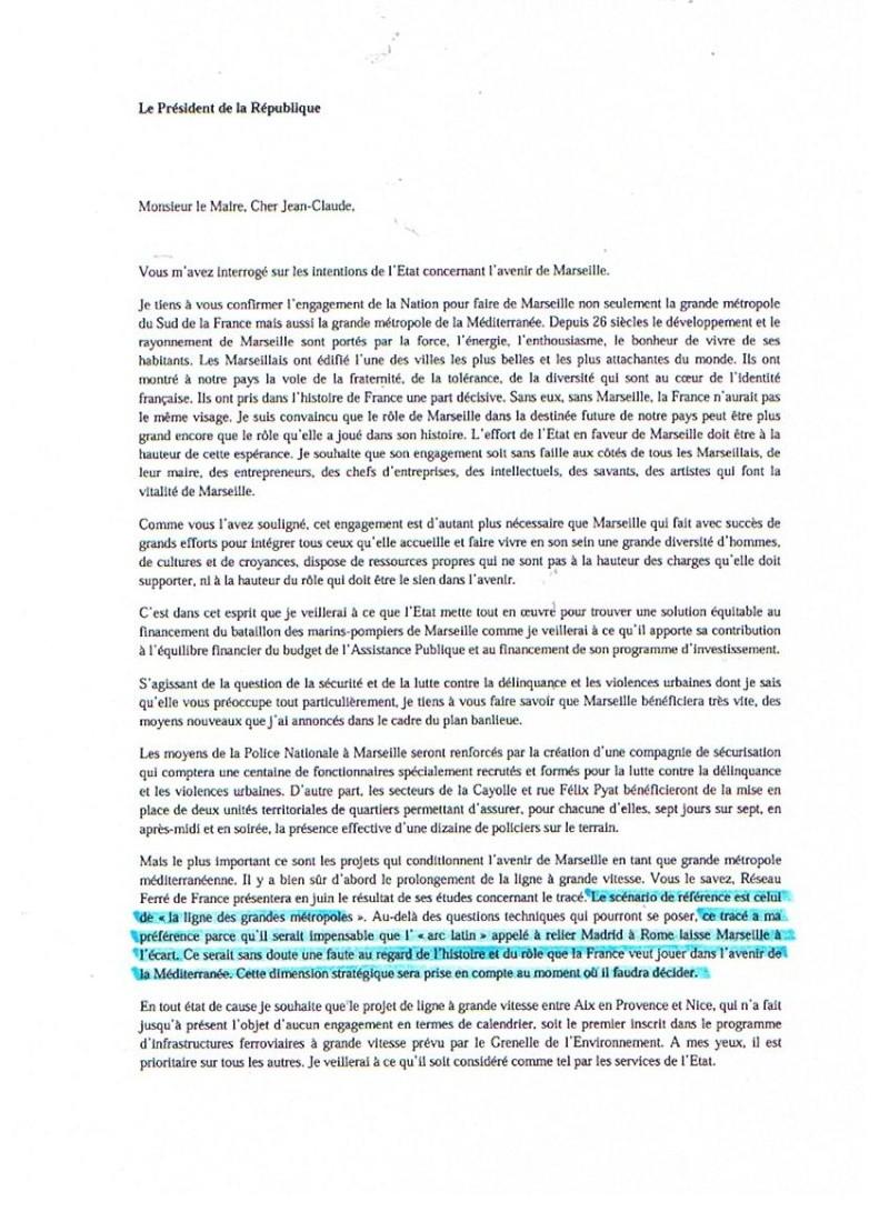 """Lettre de Sarkosy à Gaudin en faveur du tracé """"métropole"""". Photo_13"""