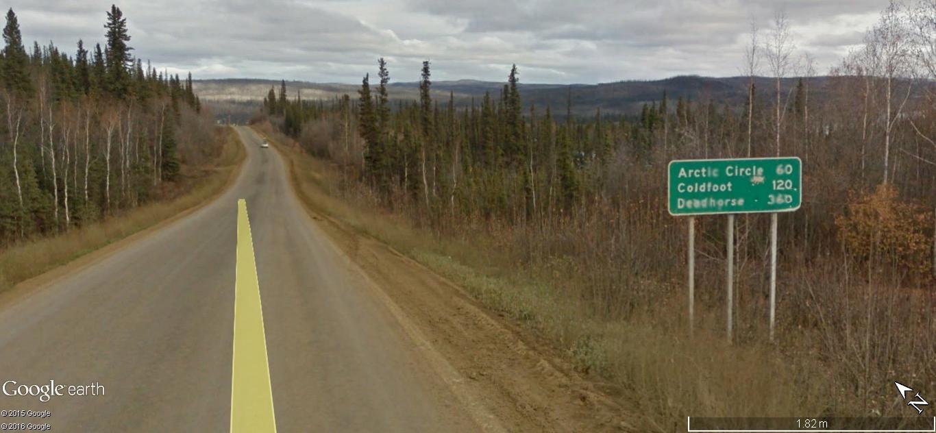Street view: La route vers l'océan arctique. L'Alaska vu depuis la Dalton Highway. 216