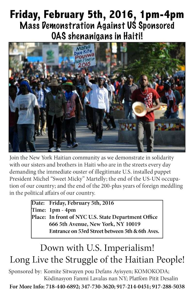 Diaspora wide protests against US-UN-OAS meddling in Haiti‏ Flyer510