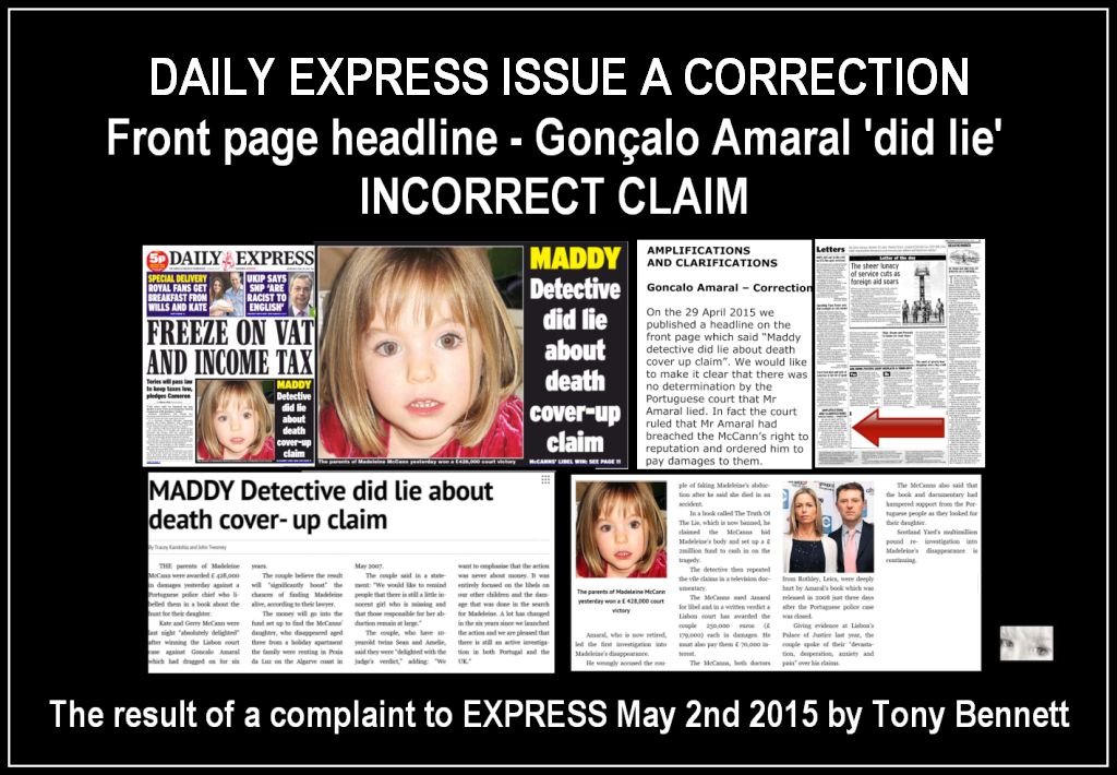 Goncalo Amaral DID NOT LIE about Madeleine: Today (7 Dec 2015) Daily Express publishes, on page 21, an offical correction to its 29 Apr 2015 headline  Lie_co10