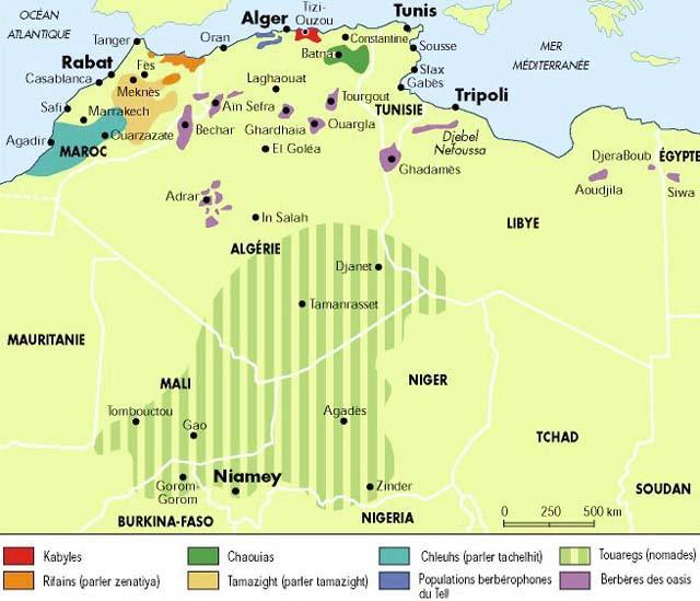 ... Carte des berbères en Afrique du nord... Berber10