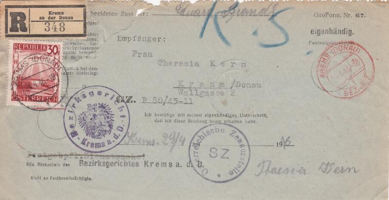 Rückschein Briefe von Gerichten 1946 Img59