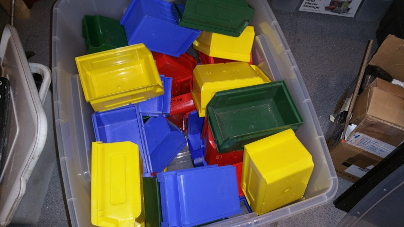 Storage bins and wall plate. 14487210