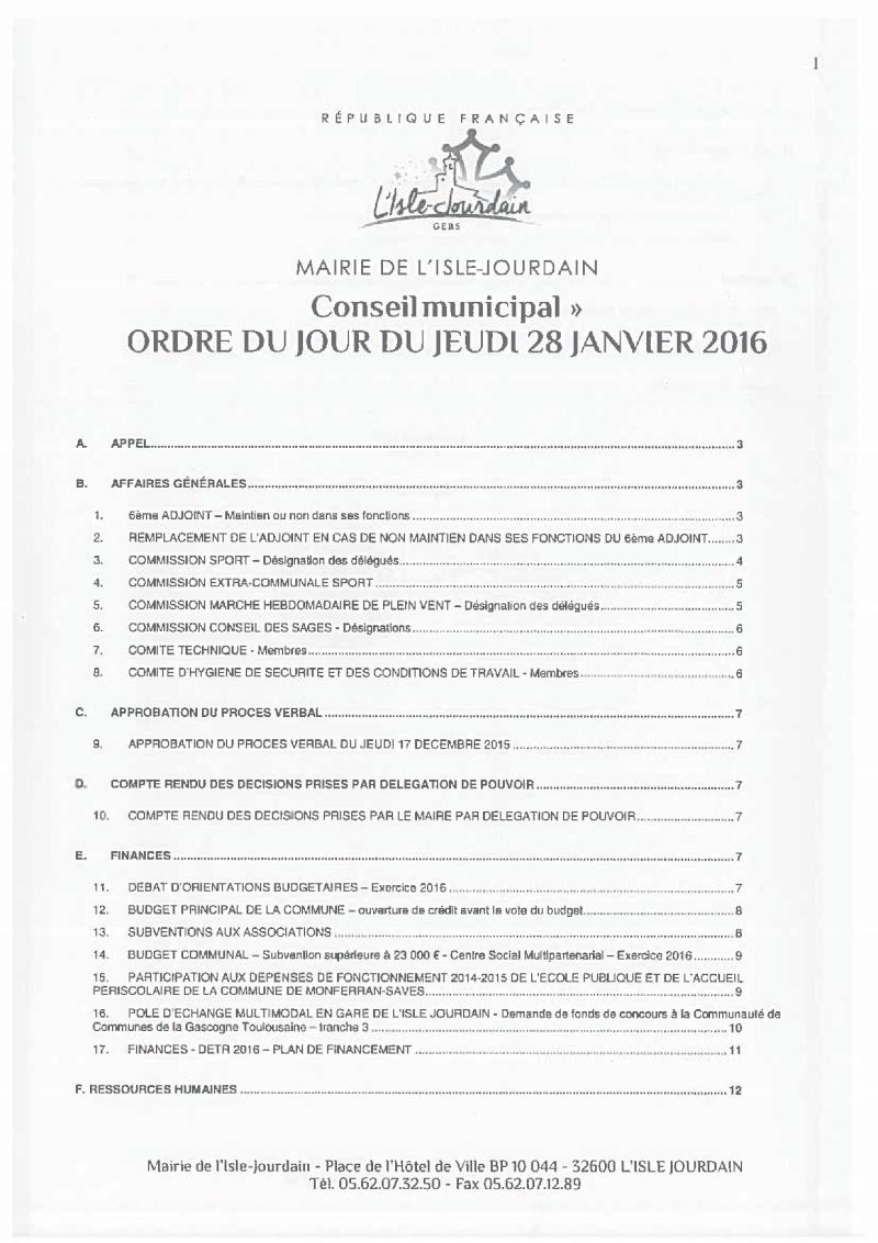 Ordre du jour du Jeudi 28 Janvier 2016 Docume10