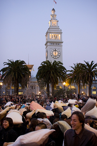 Annual Valentines Day Pillow Fight in Downtown SF. 22655811