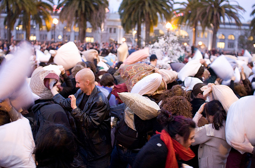 Annual Valentines Day Pillow Fight in Downtown SF. 22655814